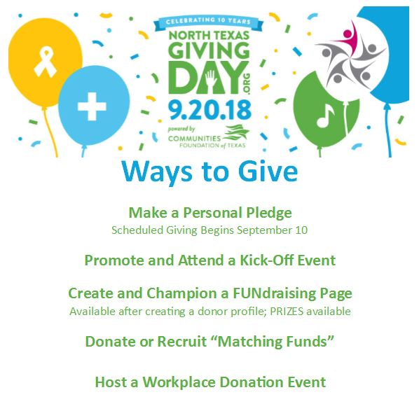 Ways to Give on North Texas Giving Day