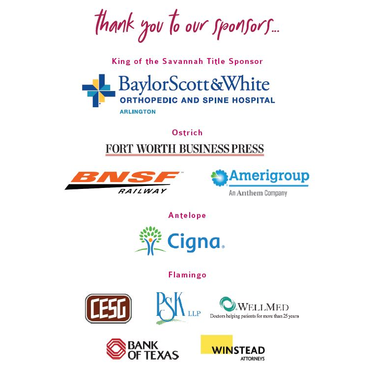 Image of current sponsor logos to include: Baylor, Scott & White Orthopedic and Spine Hospital of Arlington, Fort Worth Business Press, BNSF Railway, Amerigroup, Cigna, CESG, PSK LLP, WellMed, Bank of Texas, and Winstead Attorneys